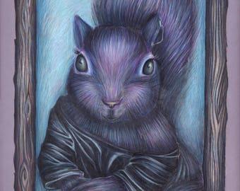 Violet Squirrel Print
