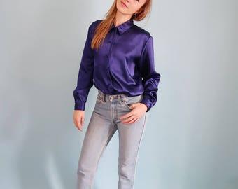 Amazing Deep Purple Violet Satin Blouse