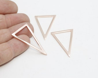 3 Pcs Rose Gold Triangle , Triangle Necklace , Triangle , Geometry Jewelry, Rose Gold Necklace, ROSE421