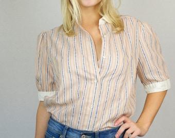 Vintage 80s Pin Stripe Blue Pink Button Down Peter Pan Collar Cap Sleeve Short Sleeve Blouse Shirt Top