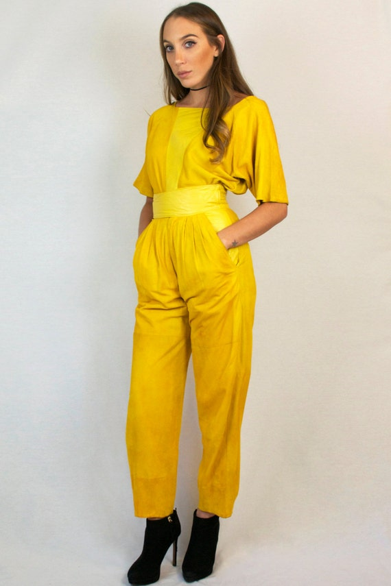 Vintage 80s Suede Leather Short Sleeve Bateau Neck Top High Waist Harem Pants Yellow Two Piece Matching Set + FREE GIFT with PURCHASE