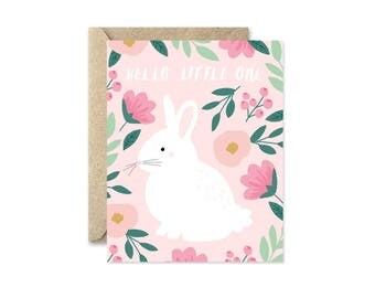 Bunny Hello Pink - Greeting Card
