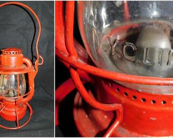 Vintage Red Dietz N.Y.C.L Lantern New York Central Lines Dietz Vesta Railroad Lantern Embossed Globe
