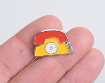 Phone lapel pin, phone enamel pin, telephone, enamel pins, lapel pin, enamel lapel pin, enamel pin