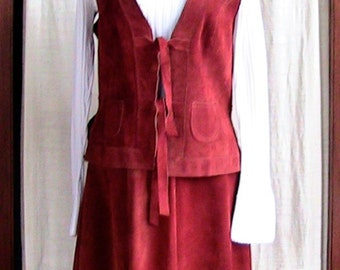 70s Two Piece Suede Vest and Skirt