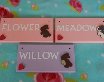 Rabbit sign / Bunny sign Cage Hutch Indoor Name plaque/ sign. Any colours, Any Name (max 6 letters). Pets Minilops Bunnies Bunny Rabbits.