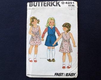1980s Wrap Dress or Jumper Uncut Vintage Pattern, Butterick 4251, Girls Size 6X