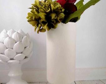 White Floraline Ceramic Vase,mccoy pottery,white vase, Mid-Century Pottery, Flower Vase, White, Tall, Narrow, Round Vase, Matte Finish Vase