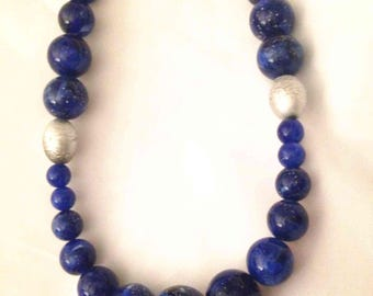 Blue Beaded Necklace,vintage,marbled beads,mid century modern,women's accessories