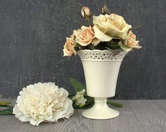 Large White Footed Vase, Ivory Flower Vase, Footed Ceramic Planter