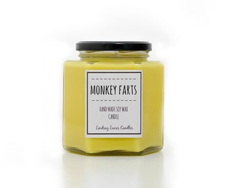 Monkey Farts Candle, Banana Scented Candle, Strong Scented Candle, Fruity Candle, Tropical Scented Candle,  Soy Wax Candle, Jar Candle