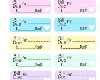 Bill Due Planner Stickers 56 piece set , Journals , Calendar , reminder , Labels , Teens , Adults