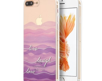 iPhone 7 Plus case.Live Laugh Love.Clear iPhone 7 Plus case.Soft iPhone 7 Plus case.Apple case.Rubber iPhone 7 Plus case.Flexible 7Plus case