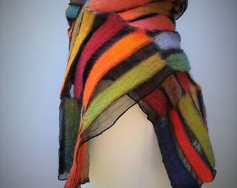 Muliticoloured nuno felt scarf