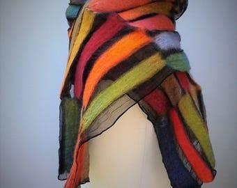 Muliticoloured nuno felt scarf