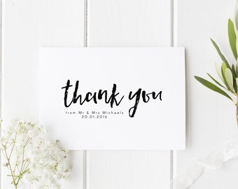 Thank You Wedding Card, Wedding Thankyou Personalised, Wedding Date Thank You Card, From The New Mr & Mrs, Wedding Guest Card