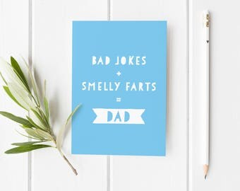 Funny Card For Dad, Father's Day Card, Bad Jokes Dad Card, Smelly Farts Card For Dad, Funny Card Dad, Cheeky Father's Day Card, Funny Card