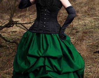 Taffeta bustle pick-up skirt in Emerald Green gothic steampunk CUSTOM sale