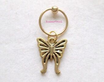 Butterfly captive bead ring, cartilage hoop earring, captive belly button ring, captive nipple ring, ear piercing