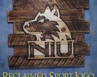 Northern Illinois University, FREE UV protector, 30X23, Burnt wall hanging, Shou Sugi Ban, Charred wood, Sport sign, Wood Sports sign,Rustic