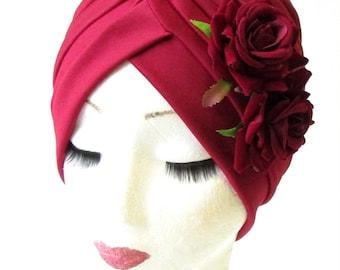 Burgundy Deep Red Rose Flower Turban Headpiece 50s Rockabilly 1940s Floral 1201