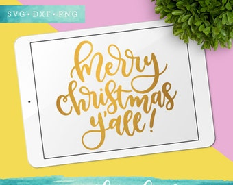 Merry Christmas Yall SVG Cutting Files /  Christmas SVG Files Sayings / Holiday SVG for Cricut Silhouette / Winter Svg / Snowflake Svg