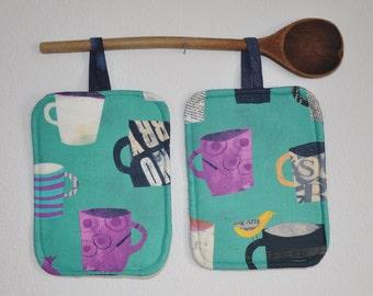 Modern Coffee Cup, Yellow Bird, Art Potholders, Insulated Potholders, Set heat-resistant potholders, Set Hot pads, Teacher,Birthday Gift.