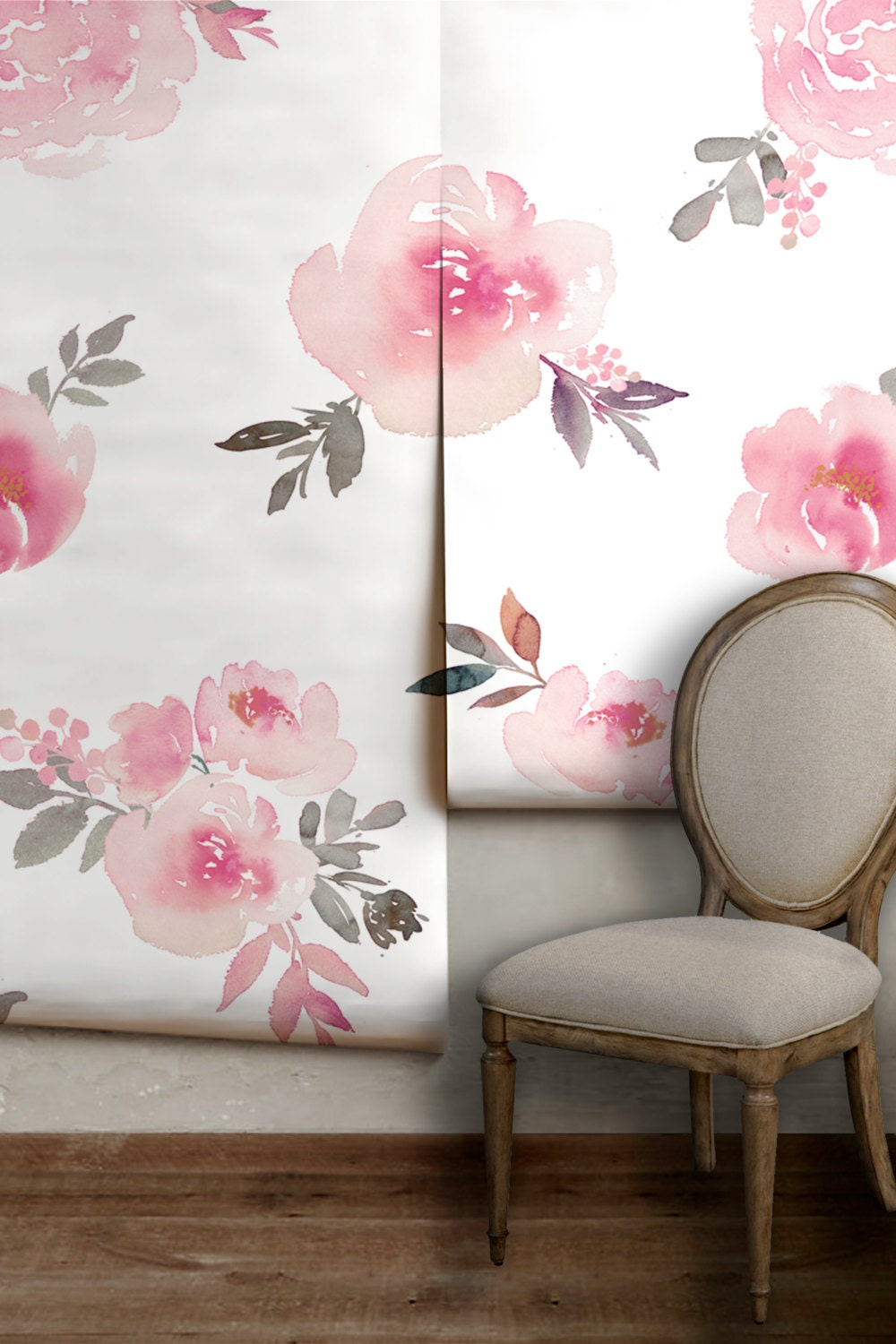 Watercolor floral mural easy to apply removable peel 39 n Floral peel and stick wallpaper