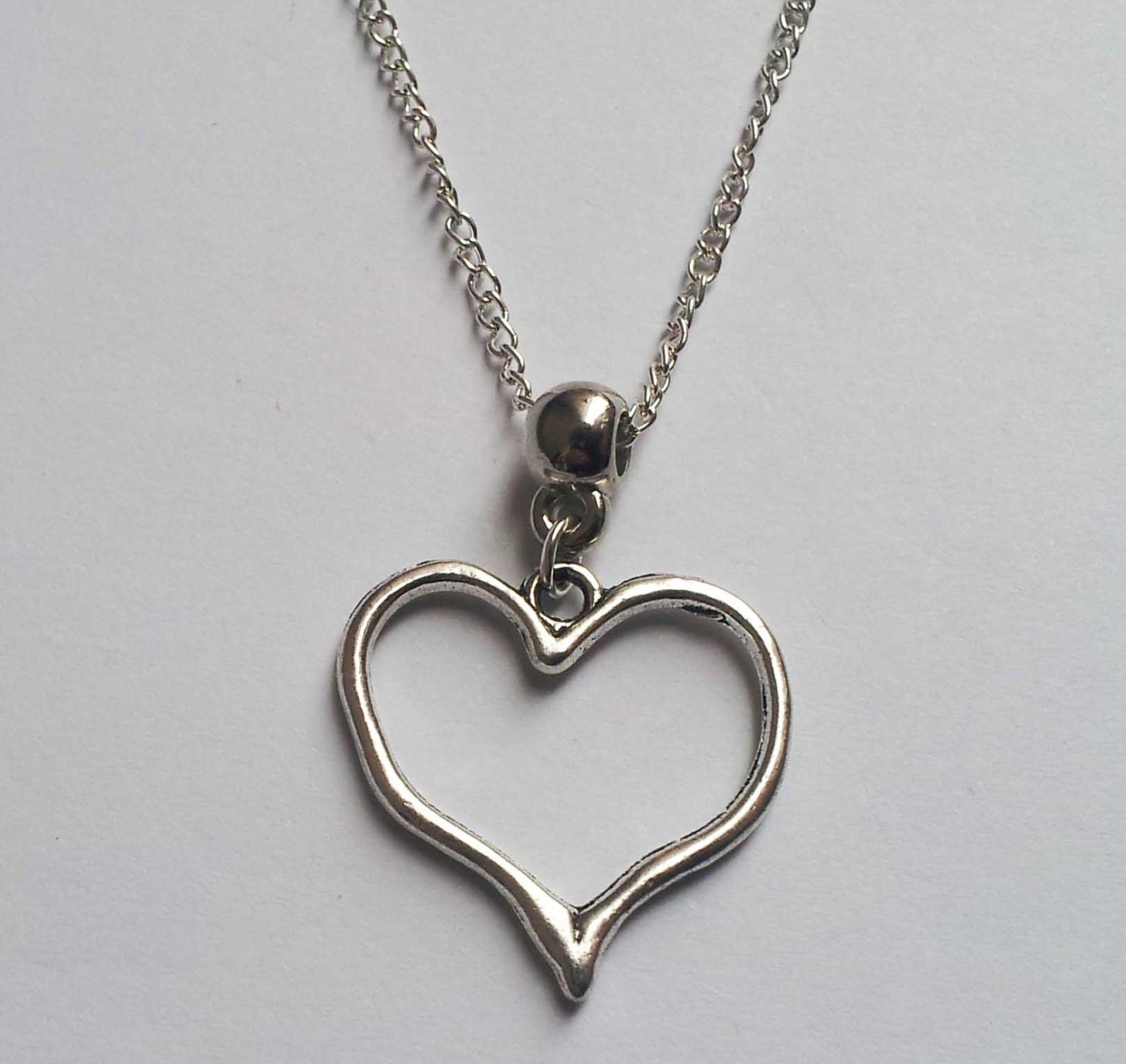 Heart Necklace Silver Heart Necklace Love Necklace
