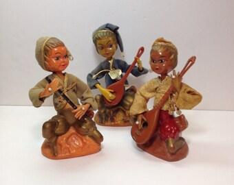 Musical Golden Fantasy Asian Elf Pixie Figures, Vintage Asian Oriental Figures, Musical Elf Pixie Figure, Vintage Oriental Collectible Doll
