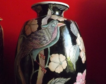 Old chinese ceramic vase with bird decor, early XX century