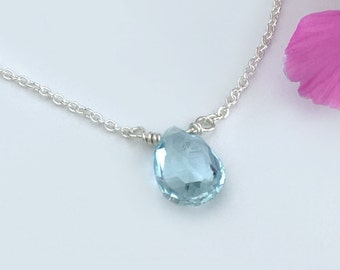 Dainty Birthstone Necklace - Aquamarine Necklace - Dainty Aquamarine Necklace - Birthstone Necklace March - Blue Gemstone Choker Necklace