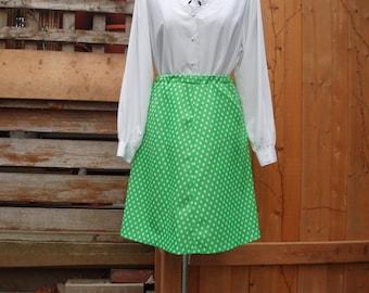 Vintage 1960's Green Polka Dot Knee Length A-line Skirt 100% Polyester