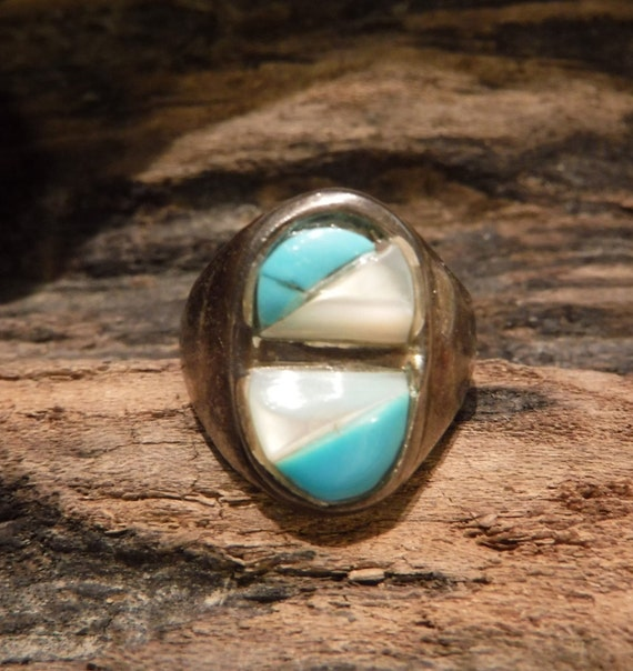 Navajo Zuni Native American Silver Ring Weight 5.2 grams Size 6.5 Turquoise MOP  Inlay Sterling Silver Ring  Native American sterling Rings