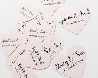 Wedding Hearts, Personalized Wedding Hearts, Wedding Confetti, Personalized Wedding Confetti, Wedding Die Cuts, 30 Ct.