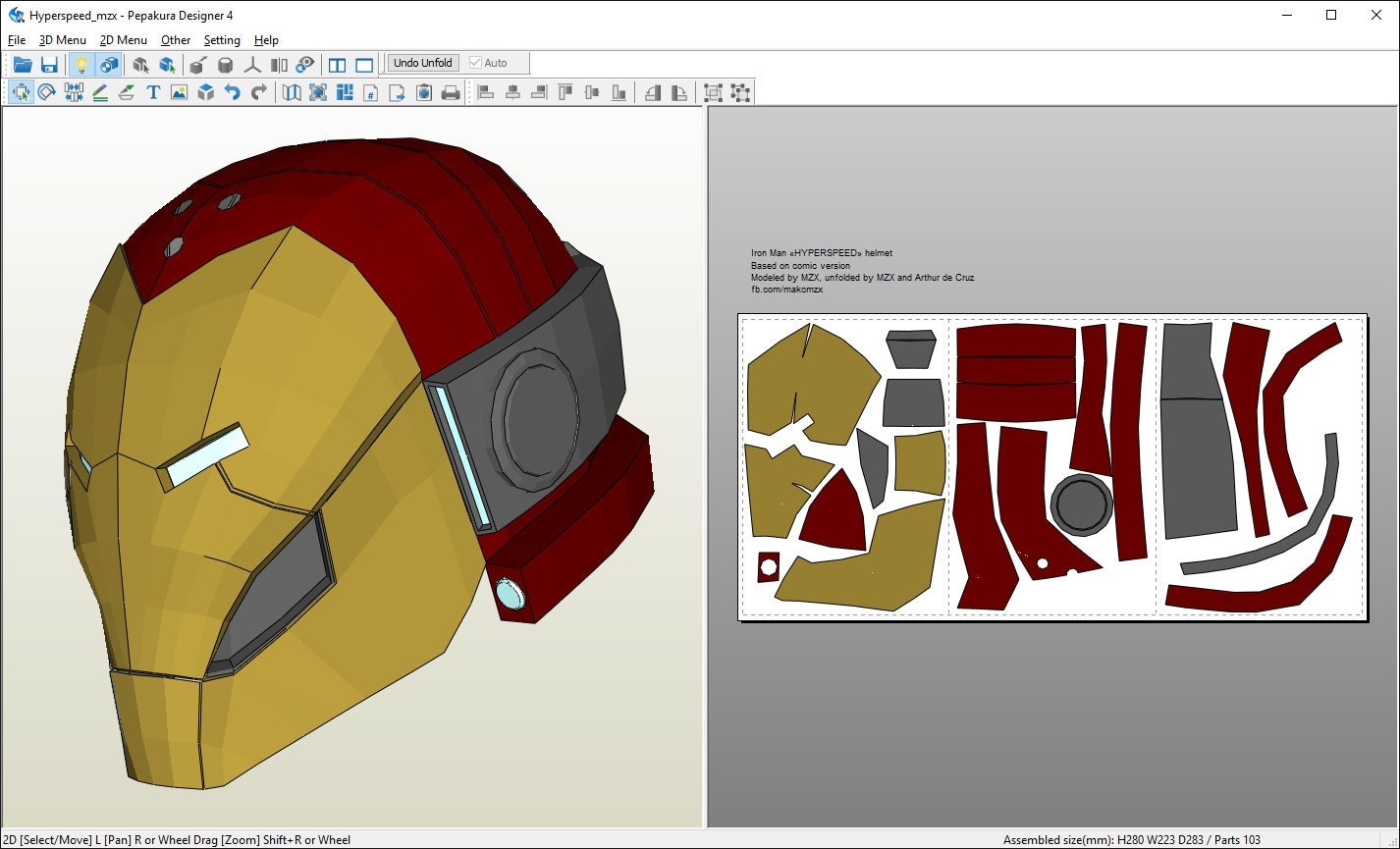 Free pepakura iron man helmet files