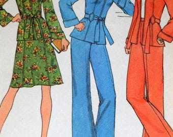 Simplicity 7094  Vintage 1970's Unlined Jacket With or Without Hood , Skirt and Pants Size 10