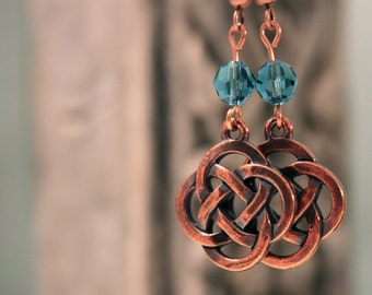 Copper Celtic Knot and Swarovski Crystal Earrings