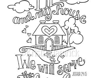 As For Me and My House coloring page in two sizes: 8.5X11, Bible journaling tip-in 6X8