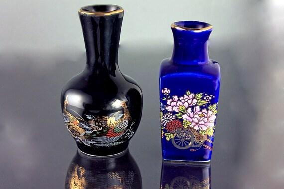 Miniature Japanese Vases, Cobalt Blue Vase, Black Vase, Set of 2, Blue Floral Vase, Black Peacock Vase, Collectibles