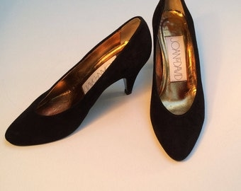 Joan & David Black Suede Shoes, Vintage Pumps, Handmade in Italy, Classic Quality Women's Shoes, US Size 7B