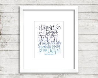 Turn on the Light. Albus Dumbledore Quote. Ombre. Harry Potter. JK Rowling. Calligraphy Font. Office Décor. Wall Décor. Art Print.