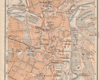 1910 Weimar Germany Antique Map