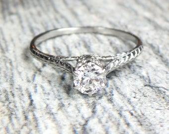 Antique Diamond Engagement Ring Old European Cut Diamond Engagement Ring Platinum Diamond Ring Hand Engraved Approx 1/2 Carat Diamond