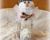 "Salt Shaker Snowman, Glass Shaker Snowman Assemblage, Glitter Snowman Decoration, ""Sophie"" Snow Lady, Christmas Collectible, Original"