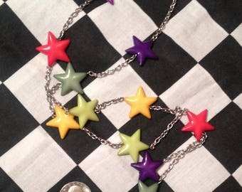 Colorful Stars Y Necklace - Radical 90's Retro - Vintage Jewelry