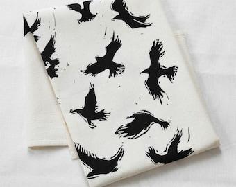 Crow Tea Towel - Flour Sack Cotton - Kitchen Towel - Natural Dishcloth - Tea Towels - Ravens - Tea Towel Flour Sack - Flying Bird Tea Towel