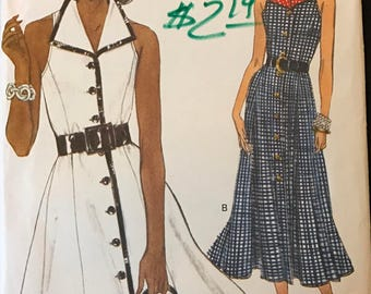 Vogue 8377 - Very Easy Button Front Dress with Athletic Cut, Wide Pointed Collar, and Flared Knee or Midi Length Skirt - Size 8 10 12