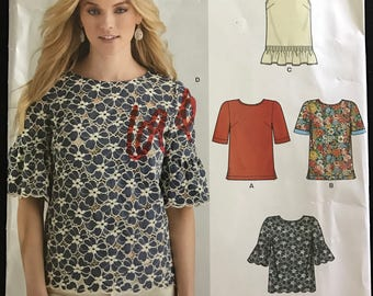 New Look S0179 - Easy Jewel Neck Tops with Ruffled and Scalloped Hem Options - Size 10 12 14 n16 18 20 22
