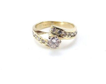 14k Yellow Gold Diamond Engagement Ring Size 6 1/2 By Pass Style